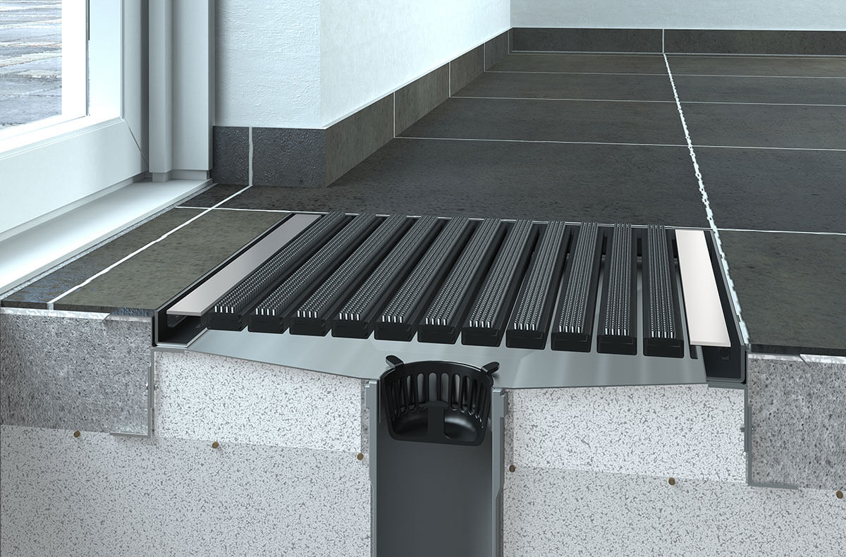 3D animation showing internal working mechanism of a black doormat in the entrance of the house