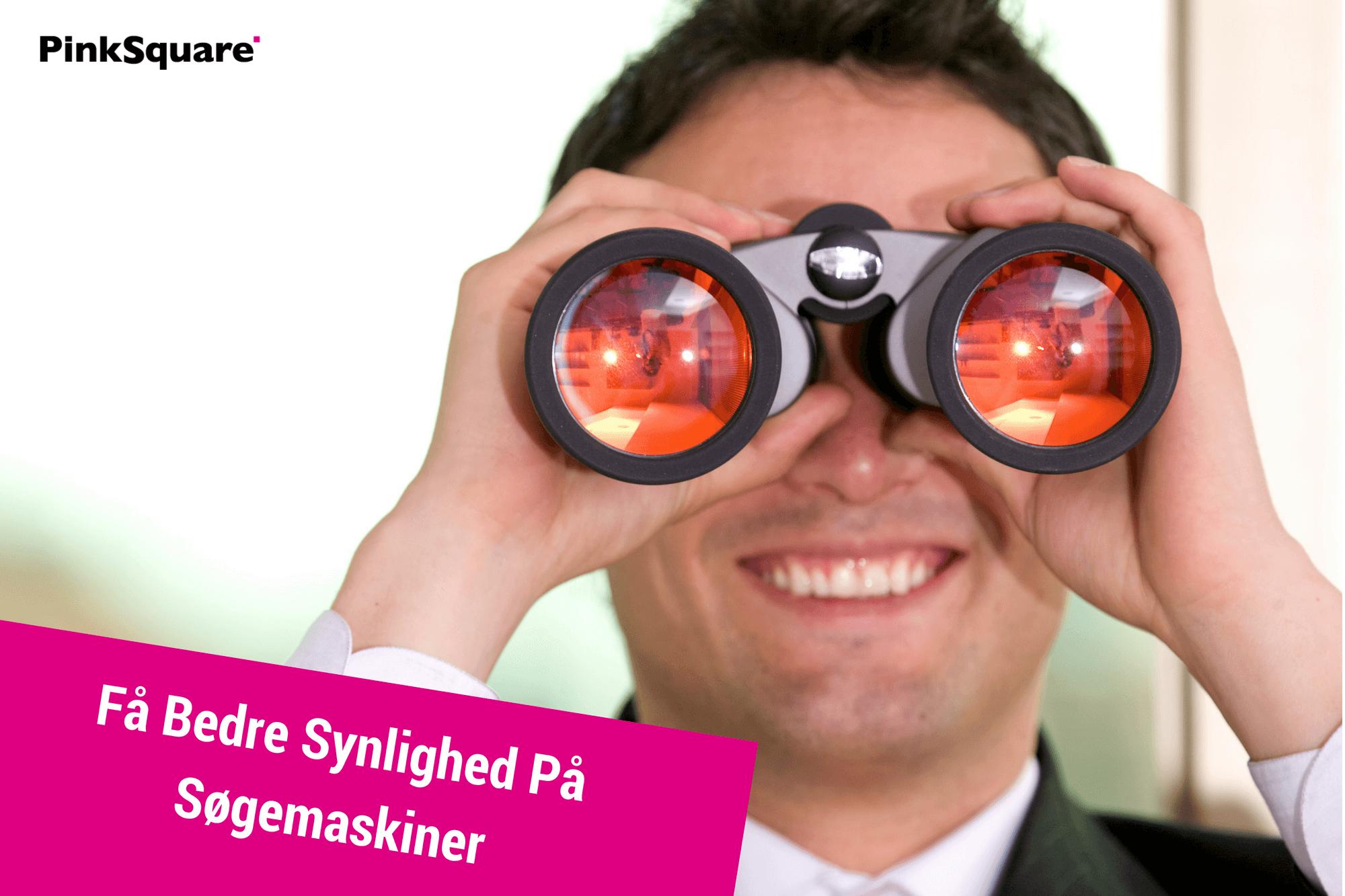 mand med kikkert, der får bedre synlighed på søgemaskiner med 3D animation