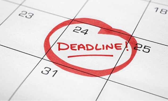 deadline marked on calendar